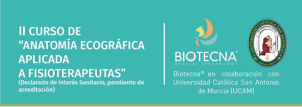 Biotecna. Cabecera II CURSO DE ANATOMÍA ECOGRÁFICA APLICADA A FISIOTERAPEUTAS