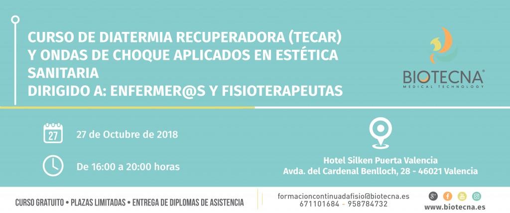 Biotecna. Banner Curso de estética sanitaria. Valencia. Septiembre 2018