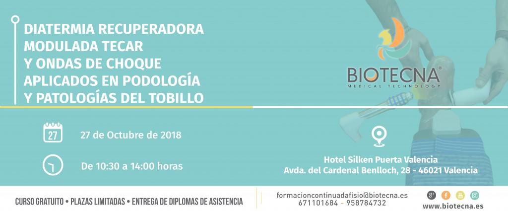 Biotecna. Banner Curso de podología. Valencia. Octubre 2018