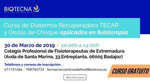 Curso de Diatermia Recuperadora TECAR y Ondas de Choque aplicados en fisioterapia. Badajoz marzo 2019 @ Colegio Profesional de Fisioterapeutas de Extremadura